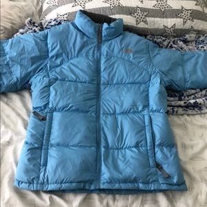 The north face blue puffer winter jacket